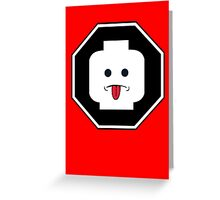 RUDE MINIFIG HEAD ROADSIGN Greeting Card