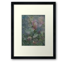 Composition With Ghosted, Abstracted Roses in Subtle Shades of Pink, Green and Yellow Framed Print