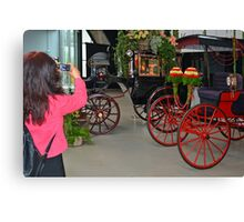 Recording carriages with flowers Canvas Print