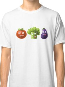 Tomato Broccoli and Eggplant Funny Cartoon Vegetables Classic T-Shirt