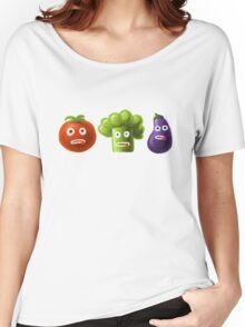 Tomato Broccoli and Eggplant Funny Cartoon Vegetables Women's Relaxed Fit T-Shirt