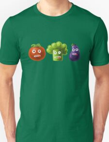 Tomato Broccoli and Eggplant Funny Cartoon Vegetables Unisex T-Shirt