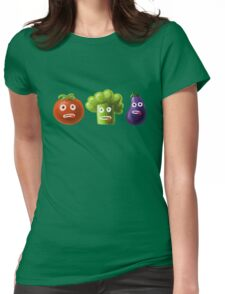 Tomato Broccoli and Eggplant Funny Cartoon Vegetables Womens Fitted T-Shirt