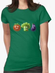 Tomato Broccoli and Eggplant Funny Cartoon Vegetables T-Shirt