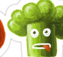 Tomato Broccoli and Eggplant Funny Cartoon Vegetables Sticker