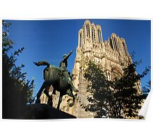 Jeanne d'Arc monument and Notre-Dame Cathedral, Reims Poster
