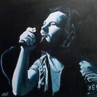 Eddie Vedder under blue lights by Patrick Hawkins