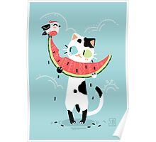 Watermelon Cat Poster