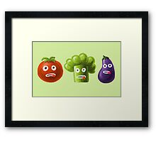 Tomato Broccoli and Eggplant Funny Cartoon Vegetables Framed Print