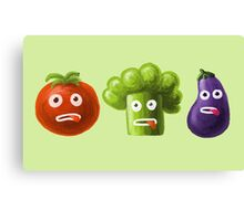 Tomato Broccoli and Eggplant Funny Cartoon Vegetables Canvas Print