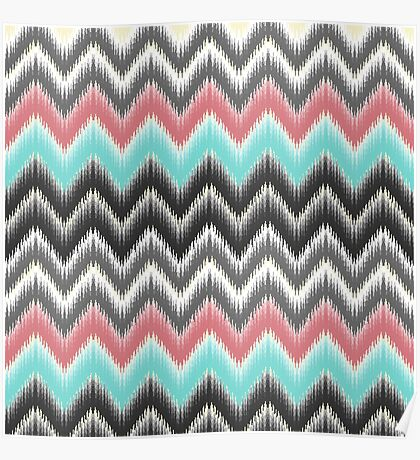 Trendy teal coral gray black ikat pattern Poster