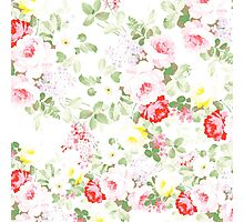 Summer trendy pink red vintage floral pattern Photographic Print