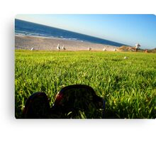 Feeling the grass between my toes... Canvas Print
