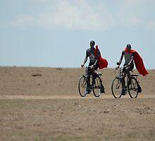 Biking Masai by Paulo van Breugel