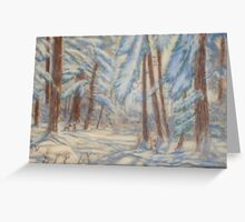 Snowy Winter -pastel chalk on valure paper Greeting Card