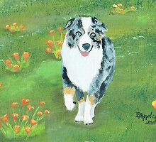 Running ~ Australian Shepherd ~ Oil Painting by Barbara Applegate