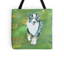 Running ~ Australian Shepherd ~ Oil Painting Tote Bag
