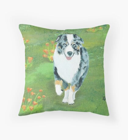 Running ~ Australian Shepherd ~ Oil Painting Throw Pillow
