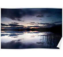 Blue sky at night, Lake of Menteith, Scotland Poster