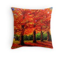 New England Maple Row Throw Pillow