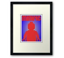 Retro Large Black Minifig, Customize My Minifig Framed Print