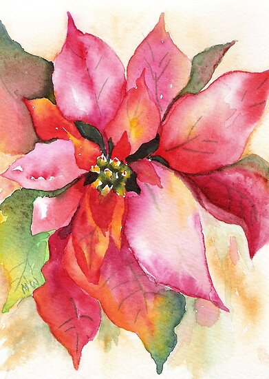 Christmas Poinsettia Watercolor Marsha Woods by Marsha Woods