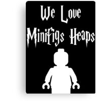 'We Love Minifigs Heaps' Customize My Minifig Canvas Print