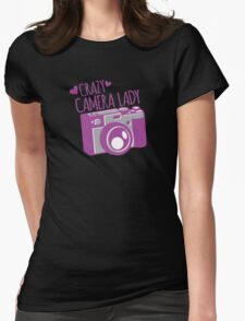 Crazy Camera Lady Womens Fitted T-Shirt
