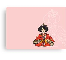 Japanese Hina Doll (Pink Background) Canvas Print