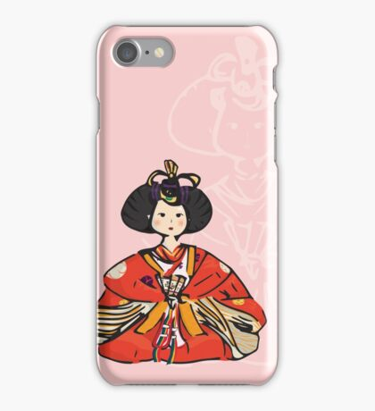Japanese Hina Doll (Pink Background) iPhone Case/Skin