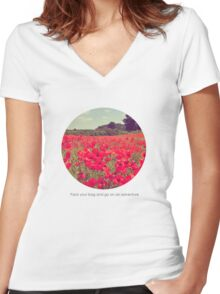 Pack your bag and go on an adventure! Women's Fitted V-Neck T-Shirt
