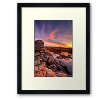 Rock Wall Sunset  Framed Print