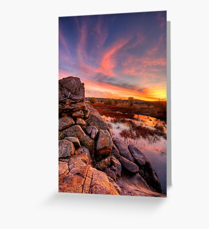 Rock Wall Sunset  Greeting Card