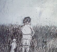 Searching, tall, grass,  mother, child,  2Darts, by Ian Farnbach
