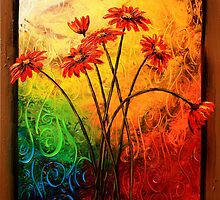 Red Daisies in a Frame by Abstract D'Oyley