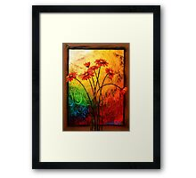 Red Daisies in a Frame Framed Print