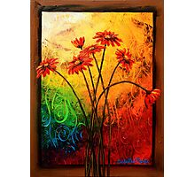 Red Daisies in a Frame Photographic Print