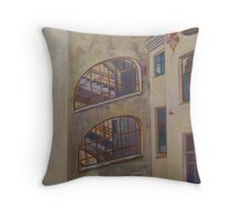 The View to the Well-like Courtyard Throw Pillow