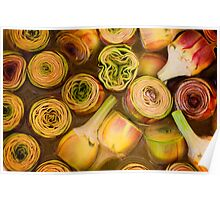 Artichokes in brine, Street market in Castelfranco, Italy Poster