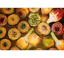 Artichokes in brine, Street market in Castelfranco, Italy Photographic Print