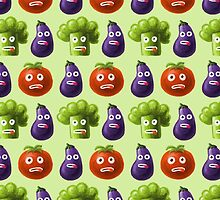 Tomato Broccoli and Eggplant Funny Cartoon Vegetables Pattern by Boriana Giormova
