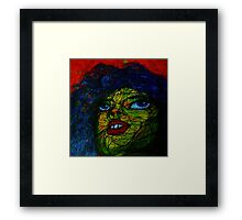 red, blue and yellow woman Framed Print