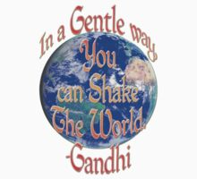 """In a Gentle Way"" Gandhi Quote by midnightdreamer"