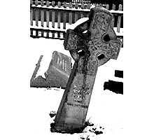 Snow-covered tombstone Photographic Print