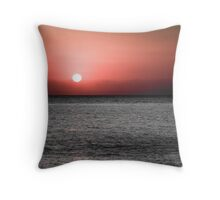 Firey Red On Ocean Throw Pillow