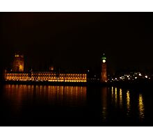 Palace and Bridge - Westminster at night Photographic Print