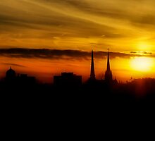 The Steeple's Last Sunset by Andreas Mueller