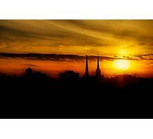 The Steeple's Last Sunset Photographic Print