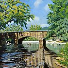 Landscape Painting - Fishing Bennett Springs - 24&quot; x 24&quot; Acrylic by Daniel Fishback