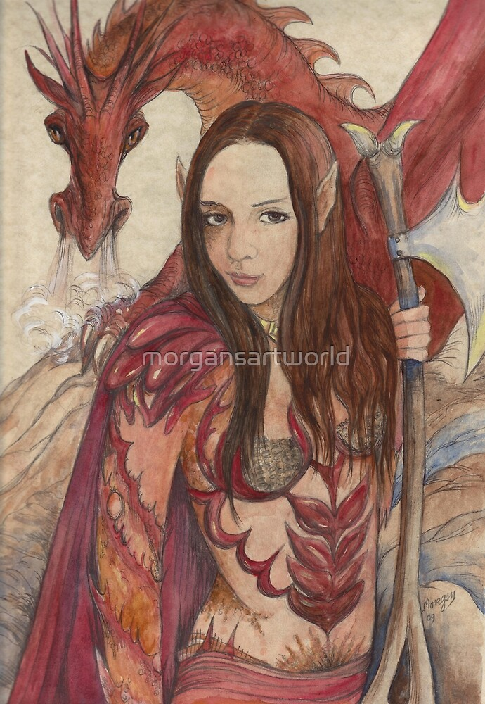 Kestia Red Dragon Guardian by morgansartworld